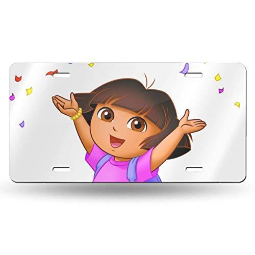 AllenPrint Dora Explorer Car License Plate License Plate Tag,Excellent Novelty License Plates for Halloween Christmas, 15x30cm