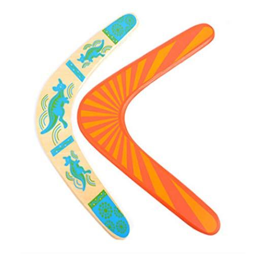 LIOOBO 2 stücke Holz Boomerang Manöver Dart Outdoor Sports Holz Ausrüstung Fliegende Spielzeug für Kinder (Sky-Blue)