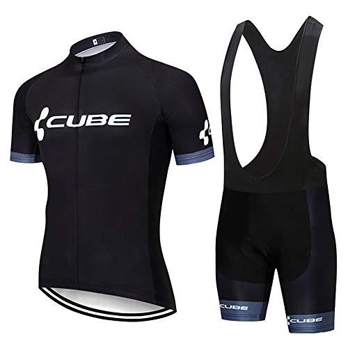 Uomo Abbigliamento Ciclismo Estivo Manica Corta, Ciclismo Magliette Corta Maglia MTB + 3D Gel Imbottito Pantaloncini Completo Ciclismo Uomo Bike Sportswear