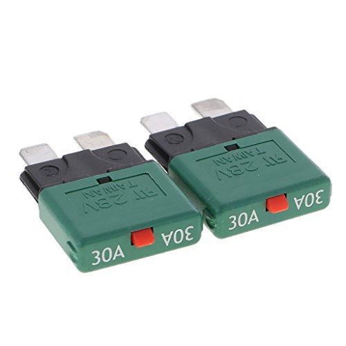 Sharplace Fusibles Lámina Disyuntor Protector de Circuito 28V 30A Accesorios para Barco Marino Auto - Verde 30A