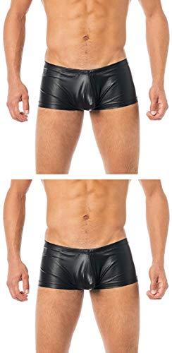 Verano Latex-ähnliche Boxer Shorts - Vinyl Shorts Herren VA-C2-000 (XL - 2 Stück)
