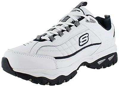 Skechers Sport Men's Energy Afterburn Lace-Up Sneaker,White/Navy,10.5 XW US