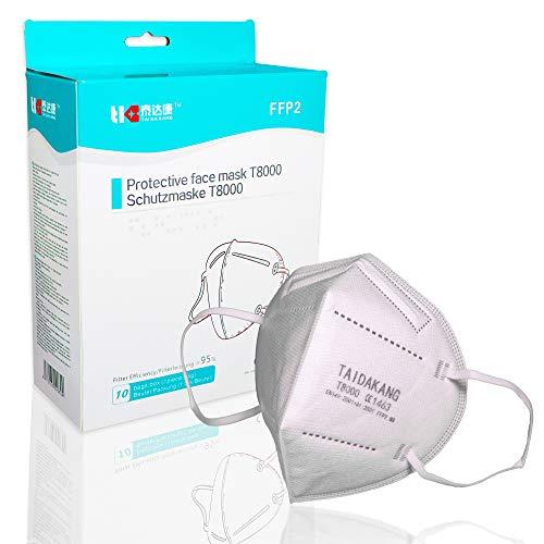 Taidakang FFP2 Maske CE zertifiziert Atemschutzmaske Atemmaske Mundschutzmaske einzelverpackt im PE durch Stelle CE 1463 EU zertifiziert Staubmasken Schutzmaske (10, Weiß)