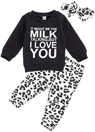 Newborn Baby Girls Clothes Daddy Saying Top Printed T Shirt Leopard Pants Headband Sweatshirt product image