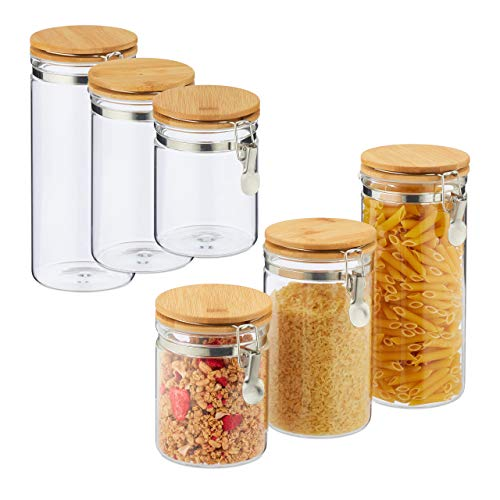 Relaxdays 6 x Vorratsglas, Volumen 1,5l, 1l, 750ml, Glas & Bambus, Bügelgläser für Küche, luftdicht, für Pasta, Müsli, transparent