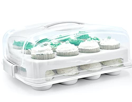 Top Shelf Elements Cupcake Carrier, Fashionable White Holder Carries 24 Gourmet Cupcakes, Durable Muffin Traveler Airtight Storage Two Tier Stand and Reusable Cupcake Box