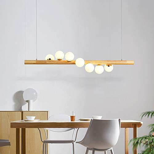 ZMH Pendelleuchte aus Holz rustikal esstischHängelampe Hängeleuchte Kugel aus Glas Pendellampe mit G9 Leuchtmittel Retro Deckenleuchte für Esszimmer (7-flammig)