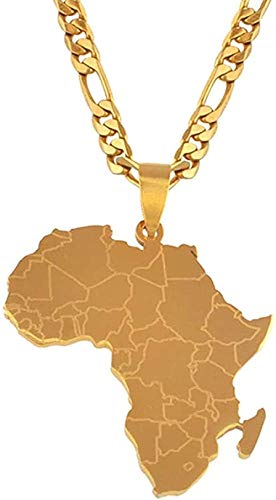 BACKZY MXJP Collar Estilo Hip-Hop Mapa De África Collares Pendientes Joyería De Color Dorado para Mujeres Me Frican Maps Joyería Regalos