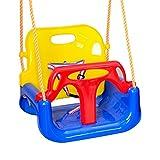 Cowslip Columpio 3 en 1 para bebé, asiento ajustable y asiento de columpio de jardín, para bebés y niños, con respaldo y cinturón de seguridad, asiento colgante desmontable para exteriores