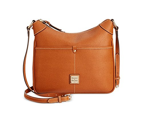 """Leather; Adjustable crossbody strap with 26-1/2"""" drop Top zip closure Exterior features gold-tone hardware, logo plaque and 2 zip pockets Interior features 2 slip pockets, 1 cellphone pocket and key hook;10-3/4"""" W x 8-1/2"""" H x 3-1/2"""" D Silhouette is ..."""