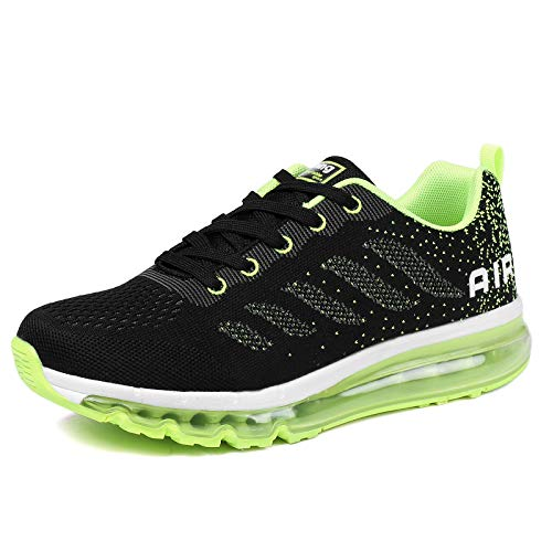 Uomo Donna Air Scarpe da Ginnastica Corsa Sportive Fitness Running Sneakers Basse Interior Casual all'Aperto Black Green 43 EU