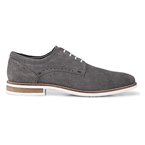 Cox Herren Freizeit-Schnürer, graue Leder Schuhe im Business-Stil Grau Leder 44