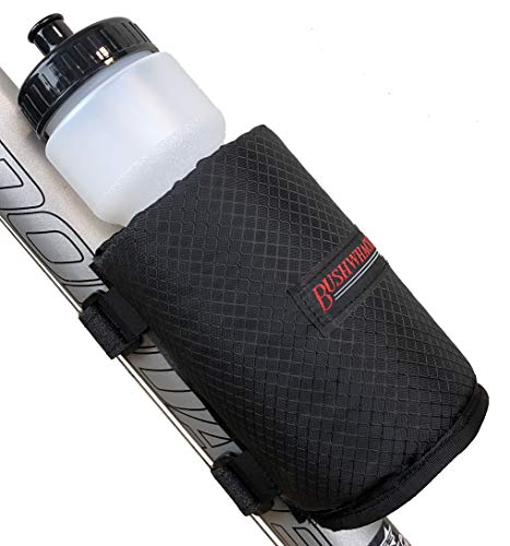 Bushwhacker Olympia Insulated Bicycle Water Bottle Holder w/ 28 Ounce BPA Free Bottle  Mounts with Straps No Tools Hardware Screws Required  Attaches to Top Down Seat Tube  Bike Cage Cycling Mount