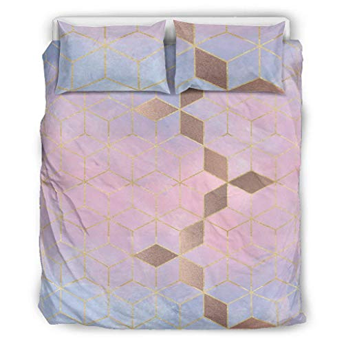 Ouniaodao Western Style Pink Purple Gradient Grid Comforter Bedspread 3 Pieces Duvet & Pillow Cases - Modern Art Comfortable Bed Sheet Set white 66x90 inch