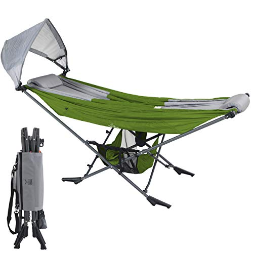 Mock ONE - Indoor Hammock Stand Portable Folding Self-Isolation In Style, All-Inclusive Design for Indoor, Patio, Garden, Home Recreation Activities, and Festivals, Green/Gray
