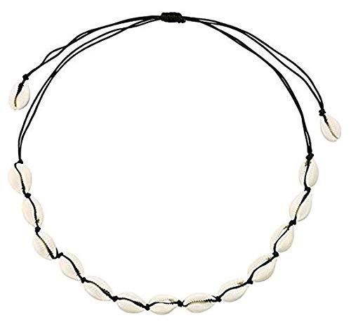 Lsv-8 Lsv-8 - Collar de concha de línea negra para mujer, color blanco, hecho a mano, con nudo plano, collar de concha natural