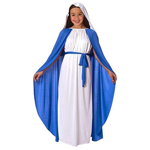 Mädchen Jungfrau Maria Krippe Mary Kostüm für Kinder fromme Weihnachts Kinderausstattung - Klein (Alter 3-5)