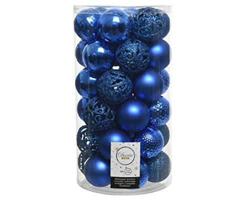 Christmas-Decorations Weihnachtskugeln Kunststoff 6cm x 37er Set mit Ornamenten Blau