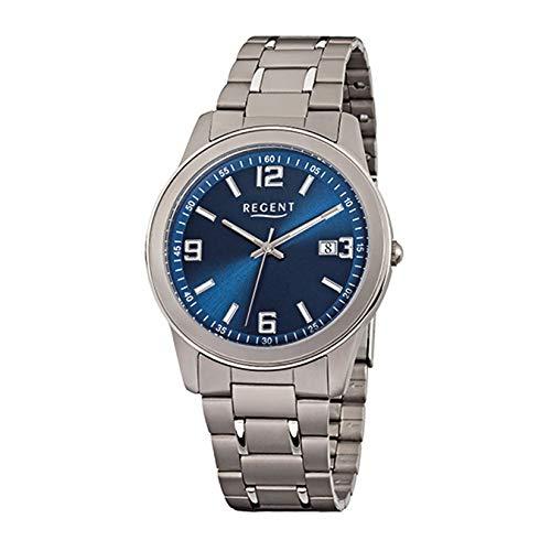 Regent Herren Analog Quarz Uhr mit Titan Armband 11090312
