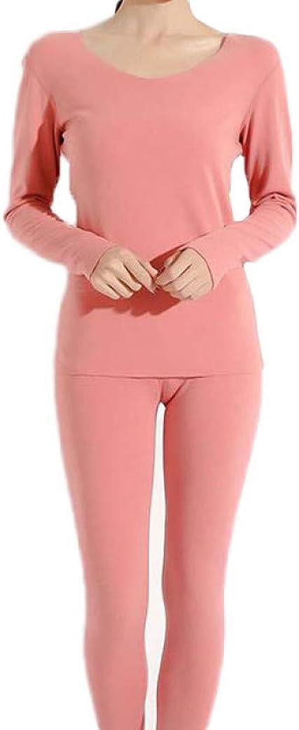 Women Stretch Thermal Underwear Set Soft Crew Neck Base Layer Thin Long Johns