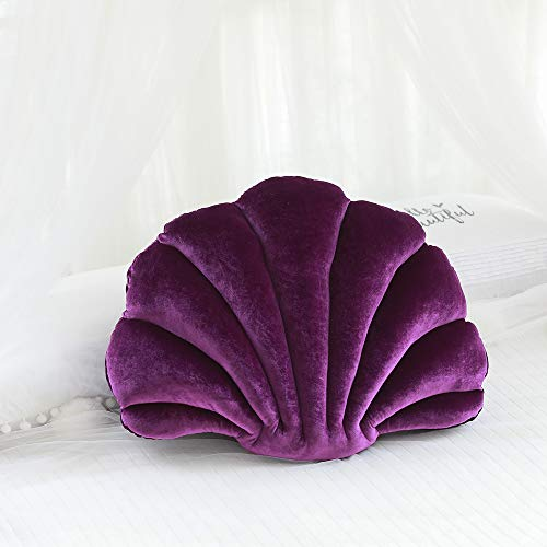 LouisaYork - Cuscino a forma di conchiglia, in velluto, morbido cuscino a tema oceano marino, per divano, letto, sedia, auto, soggiorno, camera da letto