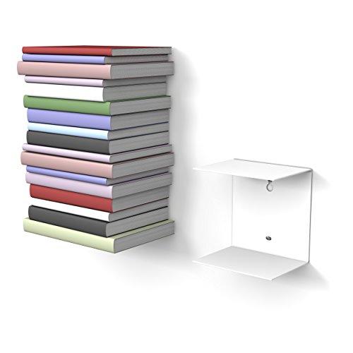 1 balda invisible blanca para libros de hasta 22 cm de profundidad.