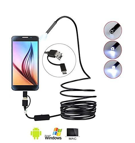 Luminizer by RheinTEC Lighting Inspektionskamera, Endoskopkamera, 3-in-1 Boreskop, Micro-USB/Typ-C, Inspektionskamera mit Beleuchtung, Kompatibel mit Android-Handys/Laptops/Windows usw. (5 m lang)