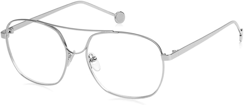 Personality box glasses,Round face thin flat mirrorsilvery