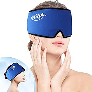 """【Instant Migraine Relief】- The head ice pack(Size: 22"""" x 5""""inch) fits to most of head shapes just use Velcro to adjust to the position that fits your head, the head wrap made of premuim napped cloth and the lining skin-friendly soft plush fabric prev..."""
