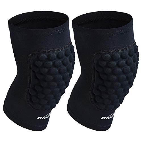 COOLOMG Protective Knee Pads Basketball Volleyball Football Crashproof Antislip (1Pair) Black S