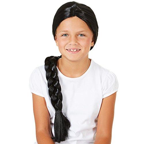 dressforfun Perücke schwarz mit Zopf 60cm | Kinder Fasching Mädchen Indianer Barock Cowgirl