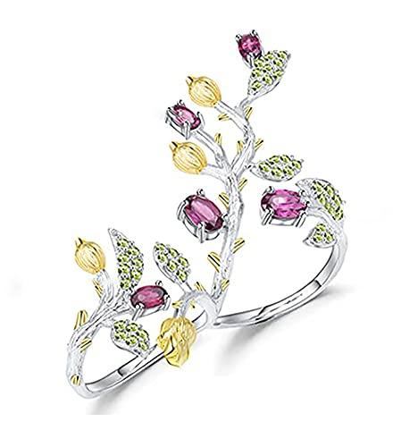 RXSHOUSH Anillo para mujer, plata 925, chapado en oro, apertura ajustable, doble anillo, caja de regalo para novia y madre