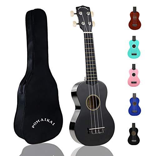 POMAIKAI Soprano Wood Ukulele kid Starter Uke Hawaii kids Guitar 21 Inch with Gig Bag for kids Students and Beginners (Black)