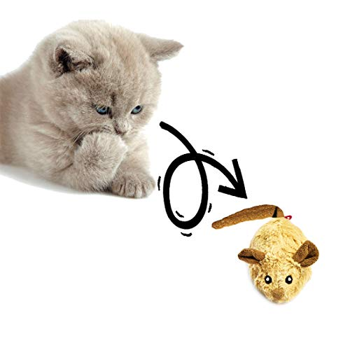 Vealind GiGwi Interactive Cat Toys Moving Mouse Toy for Cats with Rattling Sounds (Coffee Ear)