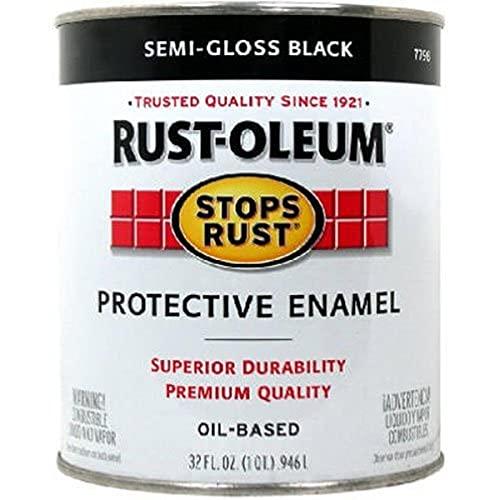Rust-Oleum 7798502 Stops Rust Brush On Paint, Quart, Semi-Gloss Black, 32 Fl Oz