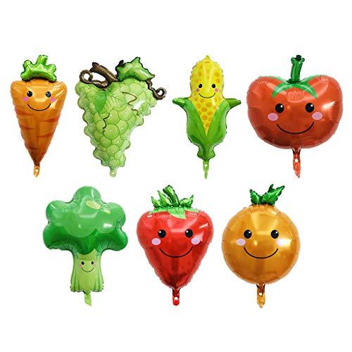 harayaa 7xFruit Vegetable Foil Globos Suministros de Decoración para Fiesta de Cumpleaños