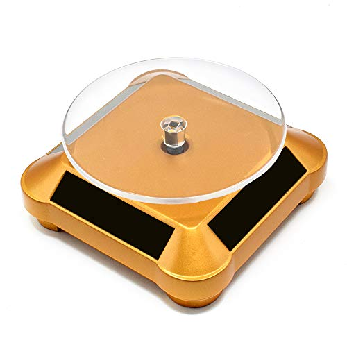 Solar Display Stand Turntable Double Used Rotating Display for UV Resin Curing Light LCD/SLA/DLP 3D Printer Solar Power Jewelry Spinner Watch Hobby Collection Shelf