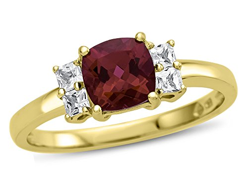 Finejewelers 6x6mm Cushion-Cut Created Ruby and White Topaz Ring 10 kt Yellow Gold Size 8.5