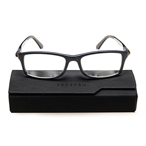 PROSPEK Hochwertige Computer Brillen Dynamic - Blaulicht- und Blendschutz (+0.00 Dioptrien | Grau | Große)