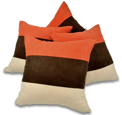 Red Rainbow Set of 4 18' Orange,Brown & Cream Faux Suede Cushion Covers