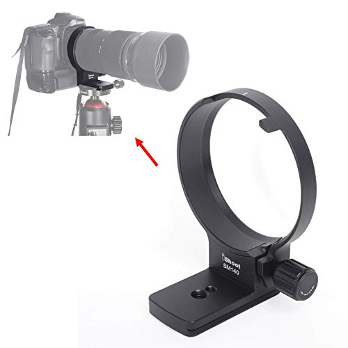 iShoot Tripod Mount Ring, Lens Collar Support Compatible with Sigma 100-400mm f/5-6.3 DG OS HSM Contemporary Lens (EF/F Mount), Bottom is ARCA Quick Release Plate for ARCA-Swiss Fit Tripod Ball Head