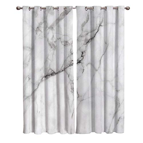 Blackout Curtain Window Drapes Thermal Insulated Curtains 2 Panels, Wild Symbol Marble White Room Darkening for Living Room Bedroom Window Treatments 27.5x39inch