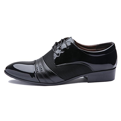 Blivener Men's Pointed Toe Pleather Dress Shoes Casual Oxford Black US 10
