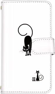 スマホケース AQUOS Xx 404SH カード収納 鏡 付き 手帳型 ケース SHARP シャープ アクオス ダブルエックス (白) クロネコ 親子 黒猫 ハロウィン スマ通 q0004-a0340