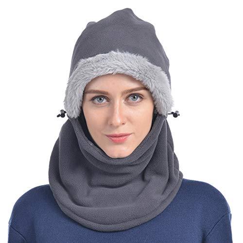 Yixda Yixda Balaclava Fleece Hood Unisex Sturmhaube Winddicht Gesichtsmaske Skimaske (Dunkelgrau)