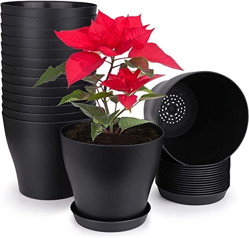 KAHEIGN 10 macetas de plástico de 14 cm con bandejas de paleta para casa de oficina (14 x 12 cm), color negro