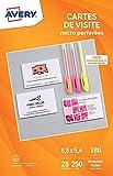 Avery C32010- Carte de Visite micro-perforées - 250 cartes de visites Personnalisables et Imprimables - 8,5 x 5,4 cm - 180 g/m²- Blanches mates resto-verso.