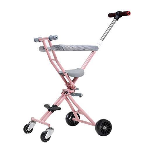 Lichtgewicht Baby Kinderwagen, Draagbare Opvouwbare Pushchair met Schokdemper Ligstoel, Ronde omslag Veiligheidshek Achterwielremsysteem Pram 100 kg belasting