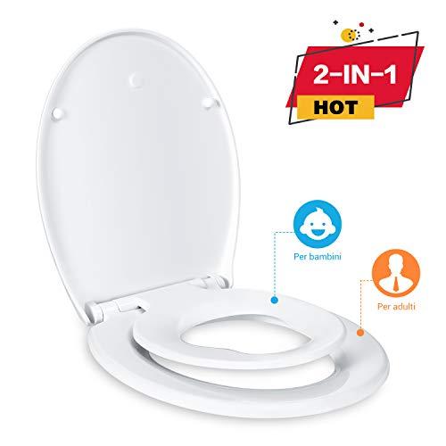 Toilettensitz TACKLIFE DBTS02BJ Toilettensitz für Familie, mit Absenkautomatik und Absenkautomatik, Standard-Deckel für 2 in 1 Kinder- und Ovale Form und schnelle Installieren