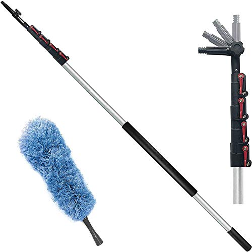 6-24 Foot Telescopic Extension Pole - Multi Purpose Pole, Paint Roller, Light Bulb Changer, Duster Pole, Antenna Pole, Hanging Lights, Window, Gutter Cleaning - New Metal Tip Design- Free Duster Incl